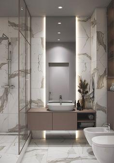 Apartment in Saint Petersburg on Behance Modern Luxury Bathroom, Bathroom Design Luxury, Modern Bathroom Design, Luxury Hotel Bathroom, Luxury Bathrooms, Modern Bathrooms, Washroom Design, Toilet Design, Home Room Design