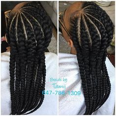 Braid Varieties for Extended Hair Black Girl Braids, Braids For Black Hair, Girls Braids, Big Cornrows, Cornrow Braid Styles, Ghana Cornrows, Plaits, African Braids Hairstyles, Braided Hairstyles