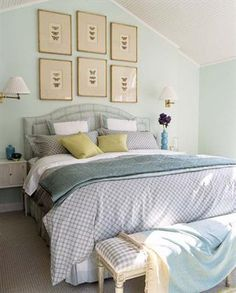 Soothing blue bedroom by designer Timothy Whealon.