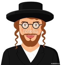 Vector: Jewish man face portrait with hat and beard in a black suit jerusalem israel vector illustration isolated on white background israeli ethnicity man with eyeglasses