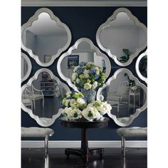 The beveled Quatrefoil mirror comes with four hangers, so it can be hung vertically or horizontally. This versatile mirror works well alone or in sets. | Stanley Furniture