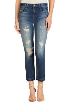 J BRAND MARIA HIGH RISE STRAIGHT CROP JEANS 23135 BLITZ DISTRESSED ANTHROPOLOGIE #JBrand #CapriCropped