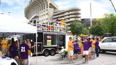 Tailgate at ECU football games in style with the Tailgate King! This premier tailgating trailer rental comes with 3 TVs, an Upper Deck, and a restoom! #GreenvilleNC #Tailgating #PirateFootball