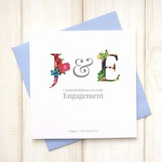 Floral Engagement Card - Personalised Engagement Card - Initials Card - Congratulations Card - Keepsake Card - On Your Engagement Card - Etsy - LetsDreambyChiChiMoi