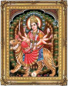 Art upon my wall.  Ma Durga: the goddess who slays her demons effortlessly.