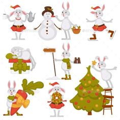 Christmas Bunny Rabbit Santa Cartoon Character
