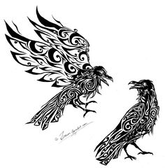 Hugin and Munin from Zusacre.deviantar… on # deviant… - Norse Mythology-Vikings-Tattoo - - Wolf Tattoos, Finger Tattoos, Body Art Tattoos, Tribal Tattoos, Viking Tattoo Symbol, Norse Tattoo, Viking Tattoos, Yggdrasil Tattoo, Viking Art