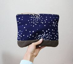 Constellation Clutch // Stone Waxed Canvas, Midnight Blue and White Dot