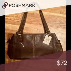 Fossil Purse Gorgeous Fossil Expresso brown/black Pebble Leather Shoulder/Satchel PurseNWTretail 128.00 Fossil Bags Satchels