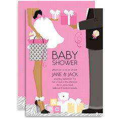 The Classic Couple Baby Shower Pink African American Invitation by Doc Milo features a handsome African American couple in a tender moment, exchanging gifts. The beautiful mommy-to-be is proudly wearing her baby bump and showing it off with a super sweet dress while the daddy-to-be is dressed to the nines in his dashing suit. Set against a pink background, this baby shower invite is perfect for a celebration of a little baby girl!