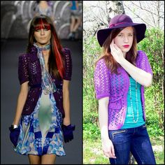 Purple crochet jacket inspired by Anna Sui.
