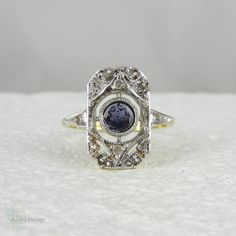 Vintage Panel Ring with Diamonds & Sapphire Blue Iolite by Addy