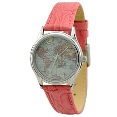 Ladies Vintage Map Watch World with roman by SandMwatch on Etsy