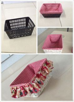 DIY your basket out of fabric.Beautiful Basket liners. #Basket liner #Liner #Basket #wicker basket