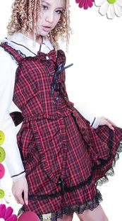red check gothic lolita dress