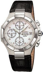 Seiko Women's SNA517 Coutura Alarm Chronograph Watch Seiko. $199.00. Stainless-steel case; Mother-of-pearl dial; Date function; Chronograph functions. Quality Japanese-Quartz movement. Water-resistant to 330 feet (100 M). Sapphire crystal