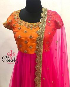 Shine on! Gorgeous orange and pink color combination floor length dress with pink color net dupatta. Floor length anarkali dress with floret lata design hand embroidery gold thread and kundan work. Kurta Designs, Chudidhar Designs, Kids Blouse Designs, Half Saree Designs, Sari Blouse Designs, Kurti Designs Party Wear, Bridal Blouse Designs, Long Dress Design, Stylish Dress Designs