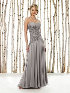 Cameron Blake - Strapless sweetheart chiffon A-line dress with ruched Empire bust line, intricately hand-beaded and embroidered midriff with asymmetrically dropped waistline, full bias-cut gathered sk