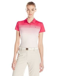 Puma Golf Womens Colorblock Fade PC Polo Rose RedPink Dogwood Medium ** For more information, visit image link. Note:It is Affiliate Link to Amazon.
