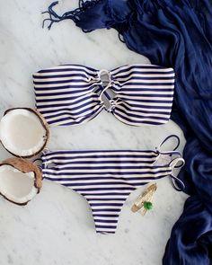 Nautical swimwear inspiration.