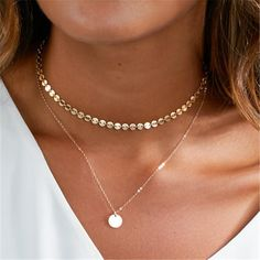 New Simple Dainty Choker Necklace Gold Silver Color Chain Coin Strip Pendant Necklaces Bar Necklace for Women Girl