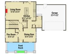 Northwest House Plan with Flex Room - floor plan - Main Level Flex Room, Two Car Garage, Open Layout, Formal Living Rooms, Second Floor, North West, Master Suite, Front Porch, Playroom