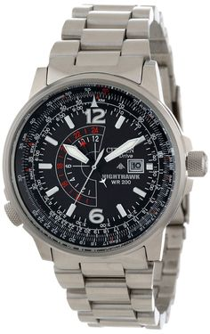 "Citizen Men's BJ7000-52E ""Nighthawk"" Stainless Steel Eco-Drive Watch with Link Bracelet"