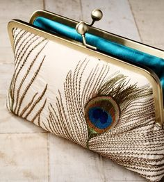 Silk peacock feathers - luxury clutch bag