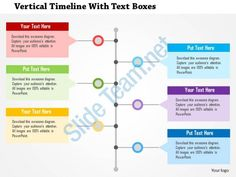 vertical timeline with text boxes flat powerpoint design Slide01