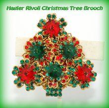Exceptional Vintage Stanley Hagler Margarita Rivoli Rhinestone Christmas Tree Brooch from Our Vintage Rose on Ruby Lane