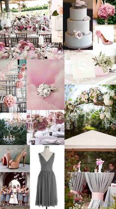 pink && gray wedding. yes ♥