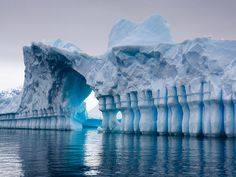 columns of ice at pleneau bay, antarctica