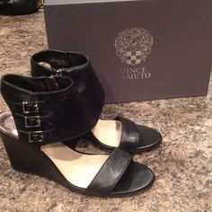 Vince Camuto Black Wedge Sandals (never worn) Vince Camuto Black Wedge Sandals Vince Camuto Shoes Sandals