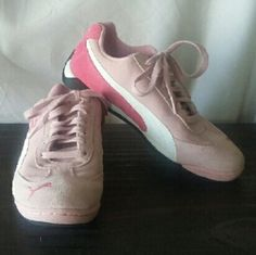 Puma Light Flight pink suede Nearly new girls' pink Pumas. Very cushy and soft because they're designed for kids! ;) Puma Shoes Athletic Shoes