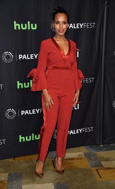 d816f627928c Spott - Kerry Washington looks stunning in this red Roksanda Florent  bow-sleeve jumpsuit