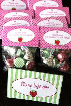 Strawberry Shortcake Birthday Party Printables, Favor Toppers, Bottle Wrappers, Cupcake Wrappers, and more. $20.00, via Etsy.