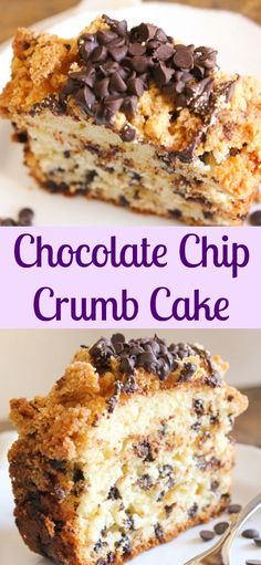 Chocolate Chip Crumb Cake, a delicious chocolate chip cake recipe, with the perfect crumb cake topping, a delicious made from scratch coffee cake/anitalianinmykitchen.com