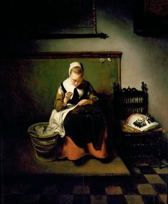 Nicholas Maes A Young Woman Sewing 1655. Those are lace-making bobbins on the pillow to her left.