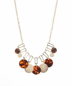 Gold & Tortoise Statement Necklace #zulily #zulilyfinds