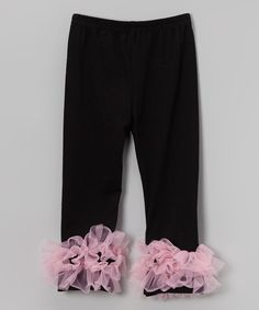 Loving this Black & Pink Ruffle Leggings - Infant, Toddler & Girls on #zulily! #zulilyfinds