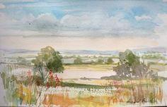 Original Watercolour Painting - Late Summer Landscape - Signed Annabel Burton