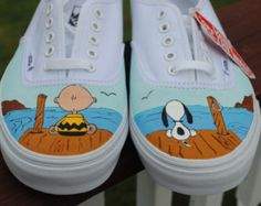 New Design Custom Hand Painted Mens Vans shoe Charlie Brown and Snoopy size note these are just a sample they are sold If you would like a custom pair of Vans or other sneakers just email me and we can start working on your design Custom Vans Shoes, Mens Vans Shoes, Custom Painted Shoes, Painted Vans, Painted Canvas Shoes, Painted Sneakers, Hand Painted Shoes, Custom Sneakers, Custom Converse