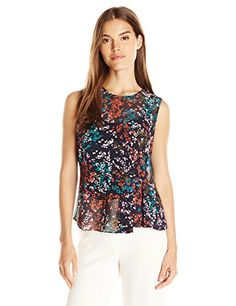 Ellen Tracy Women's Printed Side Flounce Shell, Petite Fleur Multi, Small. Add a feminine touch to your summer looks with this sheer georgette shell, complete with keyhole back. The tiny floral print and side flounce make it a breezy, must-have addition to your wardrobe.
