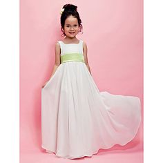A-line / Princess Floor-length Flower Girl Dress - Chiffon Sleeveless Square with Draping / Sash / Ribbon – USD $ 59.99