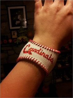 A bracelet made from a baseball. Ingenious!