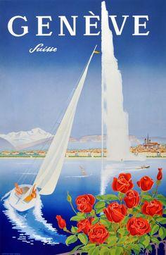 Original Vintage Posters -> Travel Posters -> Geneva Lake Switzerland Mahrer - AntikBar