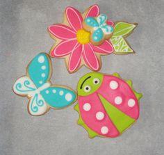 Ladybug, butterflies, flower cookies