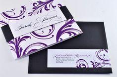 Elegant Tri-fold Wedding Invitation with Perforated RSVP
