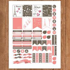 PARIS Planner Stickers Printable Erin by PrintThemAllStudio