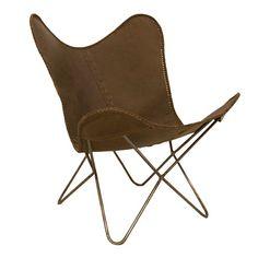 Vlinderstoel leer bruin. www.blockdesign.nl